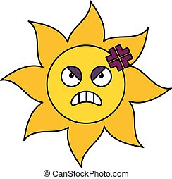 słońce, gniewny, rzeźnik, ilustracja, szkic