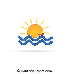 słońce, ilustracja, papier, morze, łódka, ikona
