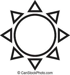 słońce, ilustracja, tło., wektor, kreska, biały, ikona