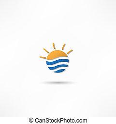 słońce, ilustracja, wektor, powstanie, morze, fale
