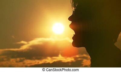 słońce, jedzenie, człowiek