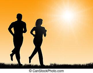 słońce, jogging