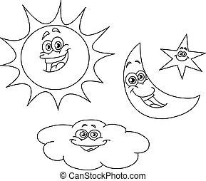 słońce, konturowany, gwiazda, chmura, księżyc
