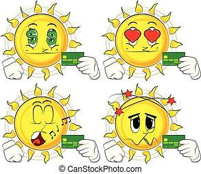 słońce, kredyt, card., dzierżawa, rysunek