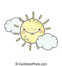 słońce, litera, projektować, rysunek, chmury, pogoda