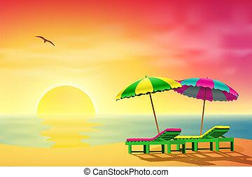 słońce loungers, plaża