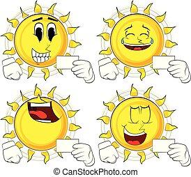 słońce, mockup., dzierżawa, czysty, biały, rysunek, karta