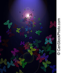 słońce, motyle, przelotny