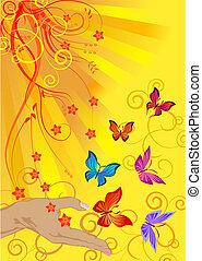 słońce, motyle
