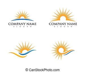 słońce, na, horyzont, szablon, logo