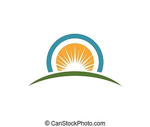 słońce, na, ilustracja, wektor, horyzont, logo, ikona
