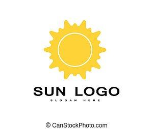 słońce, na, wektor, horyzont, logo, ikona
