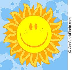 słońce, płatek, twarz, podobny, promienie