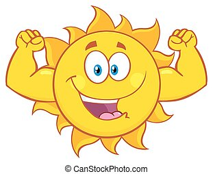 słońce, pokaz, mięsień, herb, szczęśliwy