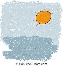 słońce, powstanie, morze, fale