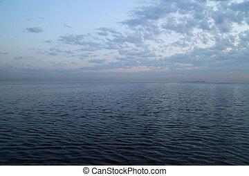 słońce, poza, chmury, motyw morski