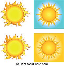 słońce, różny, projekty