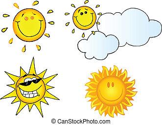 słońce, różny, rysunek, litery