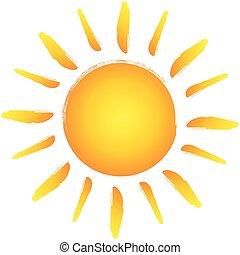 słońce, ręka, wektor, projektować, pociągnięty, logo.
