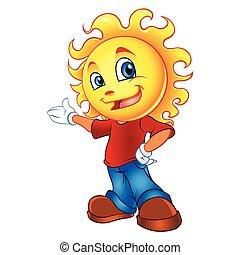 słońce, rysunek, litera