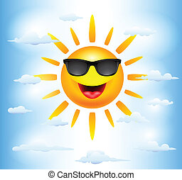 słońce, rysunek, litery