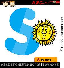 słońce, s, litera, ilustracja, rysunek