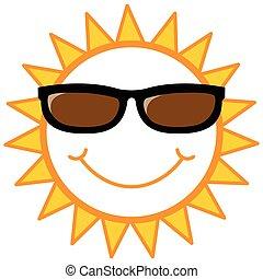 słońce, smiley, sunglasses