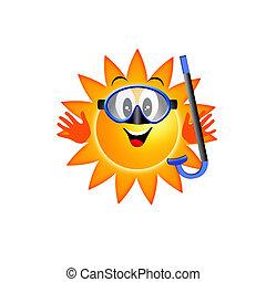 słońce, snorkel, maska