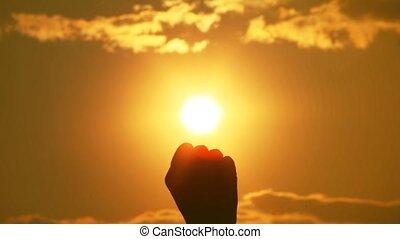 słońce, suffices, drags, to, ręka