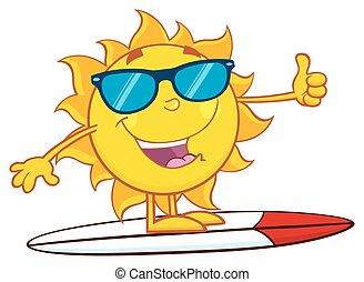 słońce, sunglasses, surfer