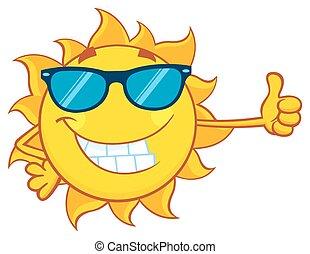 słońce, sunglasses, uśmiechanie się