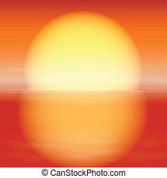 słońce, sunset., odbicie, morze, water.