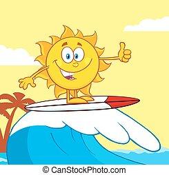 słońce, surfer, litera, jeżdżenie, machać