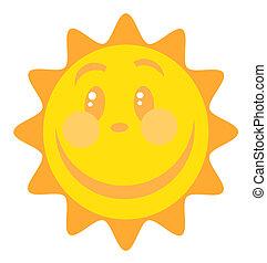 słońce, szczęśliwa twarz