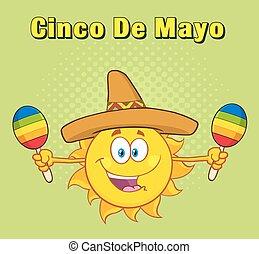 słońce, szczęśliwy, barwny, sombrero