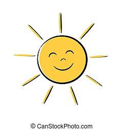 słońce, szczęśliwy, ikona