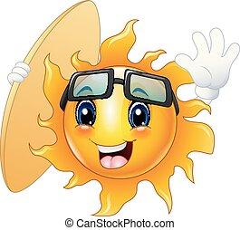słońce, szczęśliwy, litera, sanki wodne, rysunek