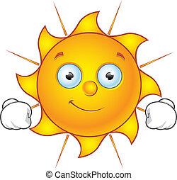 słońce, szczęśliwy, -, litera