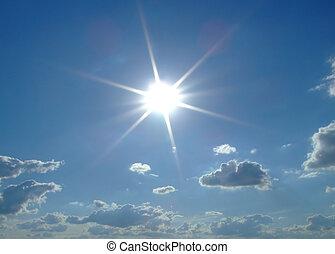 słońce, tło., chmury, niebo, niebo