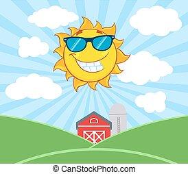 słońce, uśmiechanie się, na, krajobraz