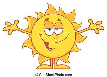 słońce, uśmiechanie się, otwarty herb, kochający