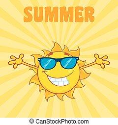 słońce, uśmiechanie się, tło