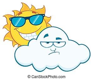 słońce, uśmiechanie się, zrzędny, chmura