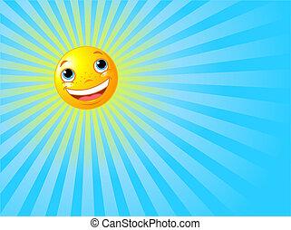 słońce, uśmiechnięty szczęśliwy, tło, lato