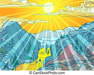 słońce, uciekanie się, góry, góra, kasownik, rzeka, albo, park