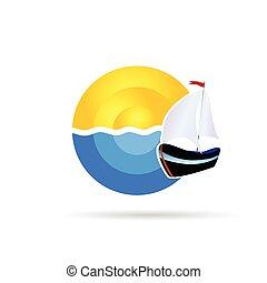 słońce, wektor, łódka, morze, ikona