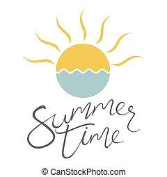 słońce, wektor, morze, ilustracja, ikona