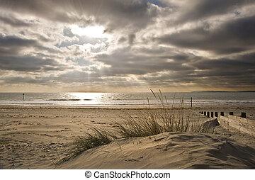 słońce, wizerunek, oszałamiający, jarzący się, zachód słońca, inspiracyjny, belki