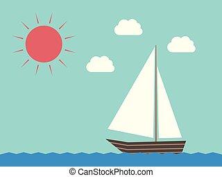 słońce, woda, żaglówka