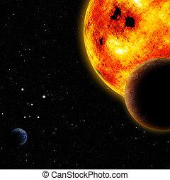 słońce, z, inny, planety, w, przestrzeń